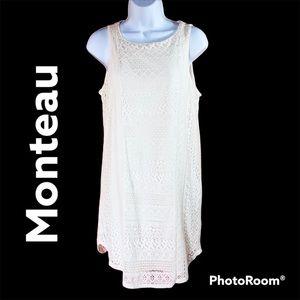 Monteau off white lace dress sleeveless Sz Large